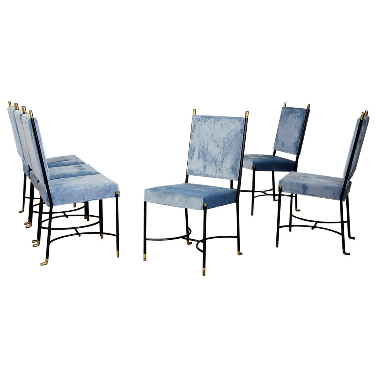 Set of Six Midcentury Iron Chair Blue and Brass by Bertrand, Paris, 1950s