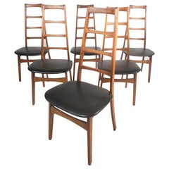 Set of Six Midcentury Ladder Back Dining Chairs by Niels Koefoed