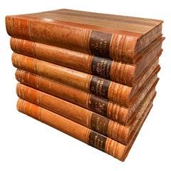 Set of Six Midcentury Leather Bound Swedish Books of Knowledge, Dated 1949
