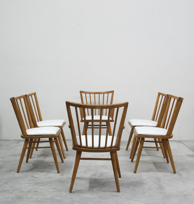 Mid-Century Modern Set of Six Midcentury Maple Spindle Back Dining Chairs by Conant Ball