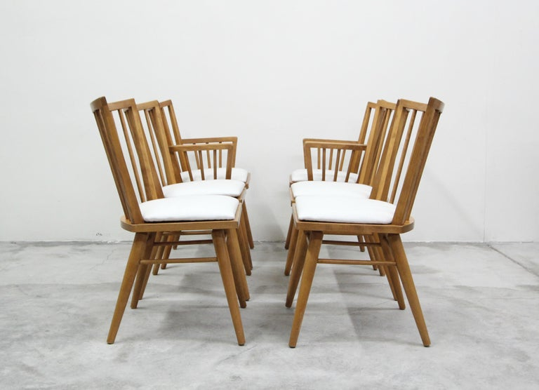 20th Century Set of Six Midcentury Maple Spindle Back Dining Chairs by Conant Ball