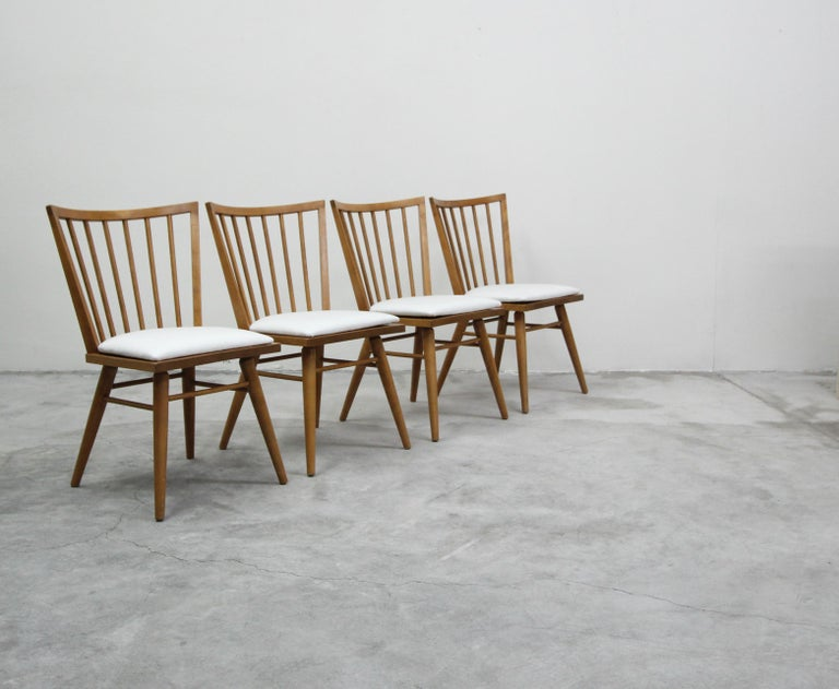 Set of Six Midcentury Maple Spindle Back Dining Chairs by Conant Ball 1