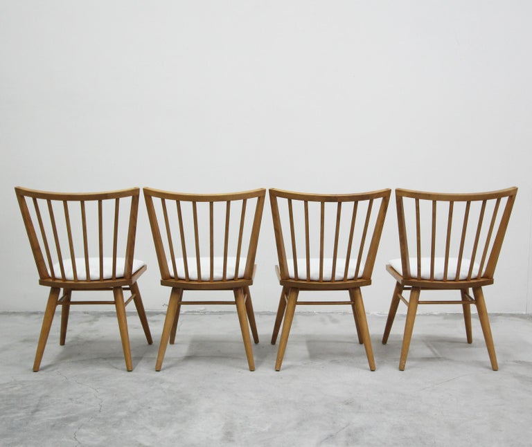 Set of Six Midcentury Maple Spindle Back Dining Chairs by Conant Ball 2