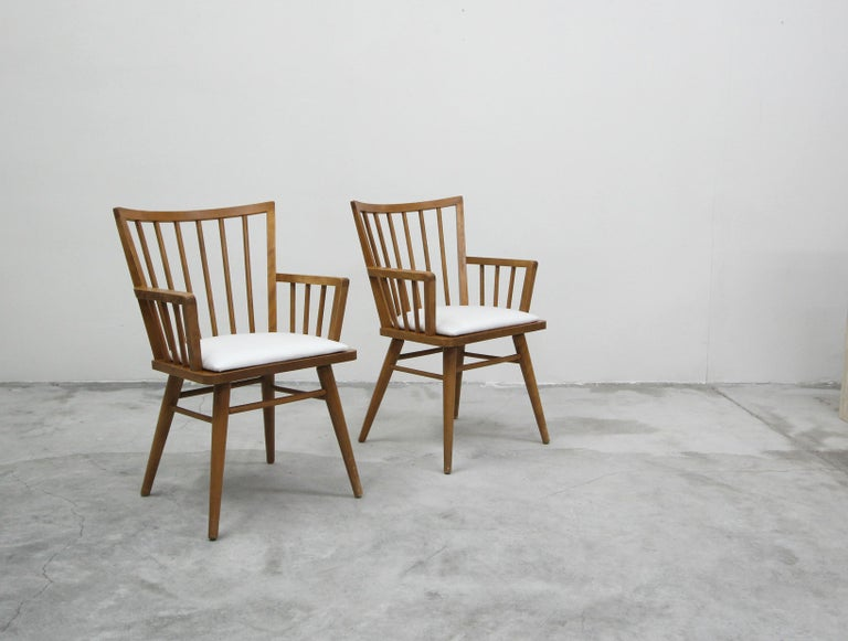 Set of Six Midcentury Maple Spindle Back Dining Chairs by Conant Ball 3