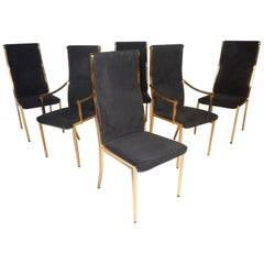 Set of Six Midcentury Mastercraft Style Brass Frame Dining Chairs