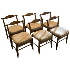 Set of Six Midcentury Oak Dining Chairs, France, circa 1960