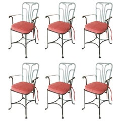 Set of Six Midcentury Polished Steel Italian Armchairs with Red Cushions