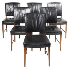 Set of Six Midcentury Side Chairs in Patinated Leather, Made in Denmark