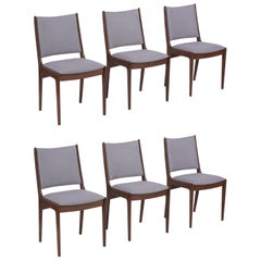 Set of Six Mid Century Modern Walnut Dining Chairs