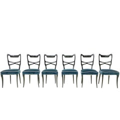 Set of Six Midnight Blue Velvet Dining Chairs, Style of Ulrich, Italy 1950s