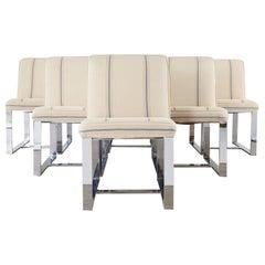 Set of Six Milo Baughman Chrome Flat Bar Dining Chairs