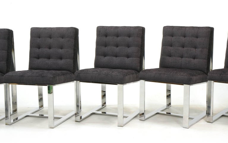 Milo Baughman dining chairs, set of six, restored and reupholstered in a Robert Allen Charcoal Chaneille fabric. Heavy chrome frames.