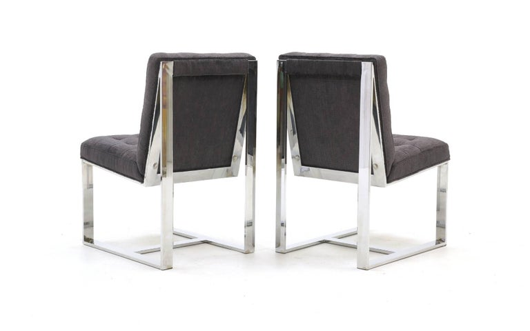 Late 20th Century Set of Six Milo Baughman Dining Chairs, Chrome and Chaneille Fabric For Sale