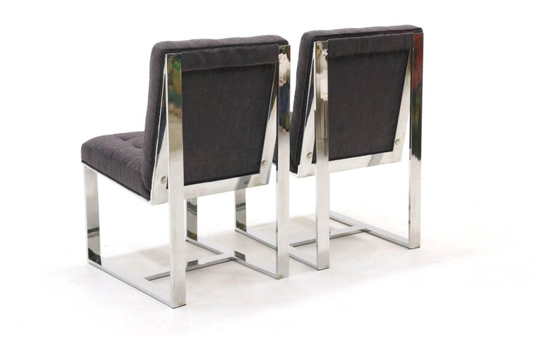 Set of Six Milo Baughman Dining Chairs, Chrome and Chaneille Fabric For Sale 1