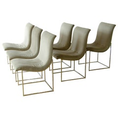 Set of Six Milo Baughman for Thayer Coggin Chrome Dining Chairs with Scoop Seats