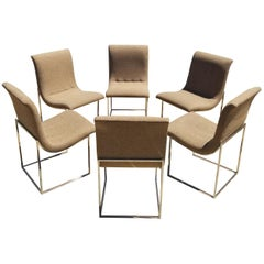 Set of Six Milo Baughman for Thayer Coggin Scoop Dining Chairs