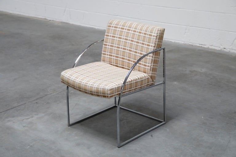 Fabric Set of Six Milo Baughman for Thayer Coggin Thinline Chrome Dining Chairs, 1970s For Sale