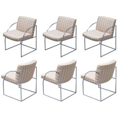 Set of Six Milo Baughman for Thayer Coggin Thinline Chrome Dining Chairs, 1970s