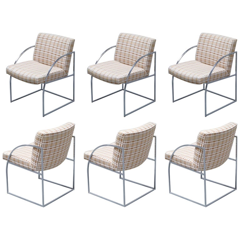 Set of Six Milo Baughman for Thayer Coggin Thinline Chrome Dining Chairs, 1970s For Sale