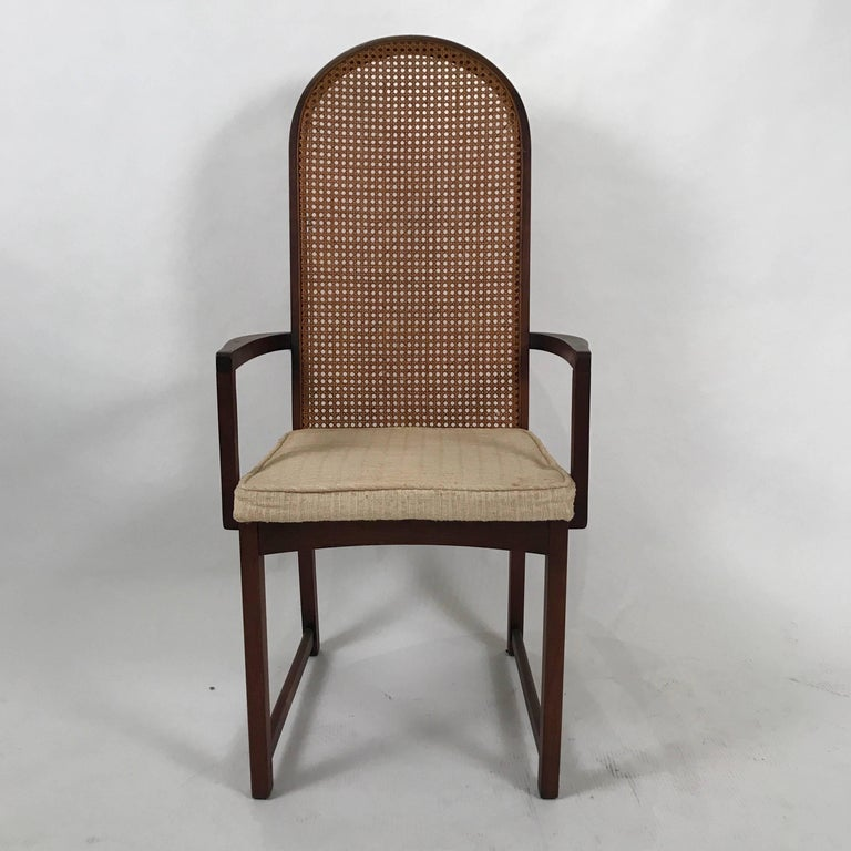 Set of Six Milo Baughman High Back Cane and Walnut Dining ...