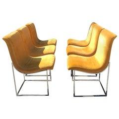 Set of Six Milo Baughman Scoop Chrome Dining Chair, Thayer Cogan