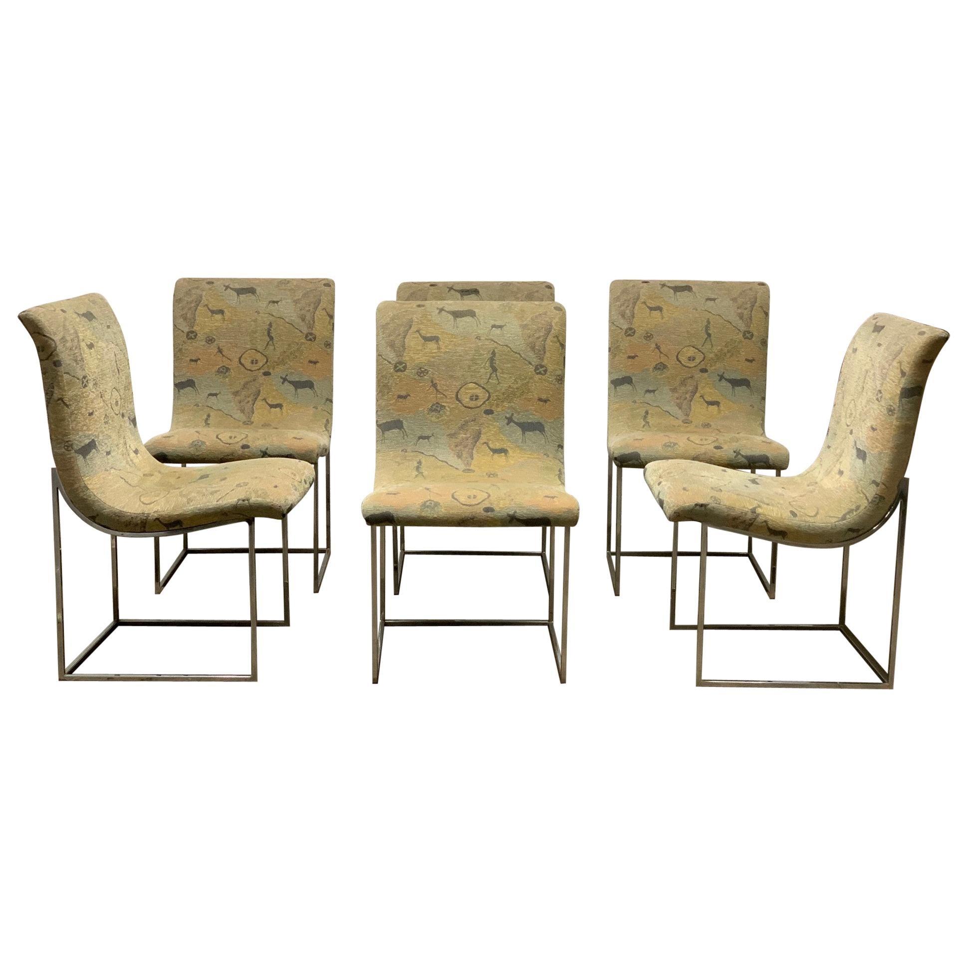 Set of Six Milo Baughman Scoop Chrome Dining Chairs