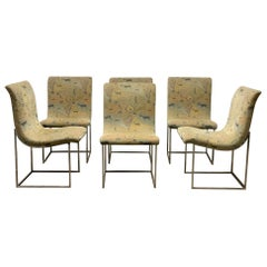 Set of Six Milo Baughman Scoop Chrome Dining Chairs