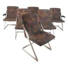 "Set of Six Milo Baughman Style Chrome ""Z"" Frame Dining Chairs"