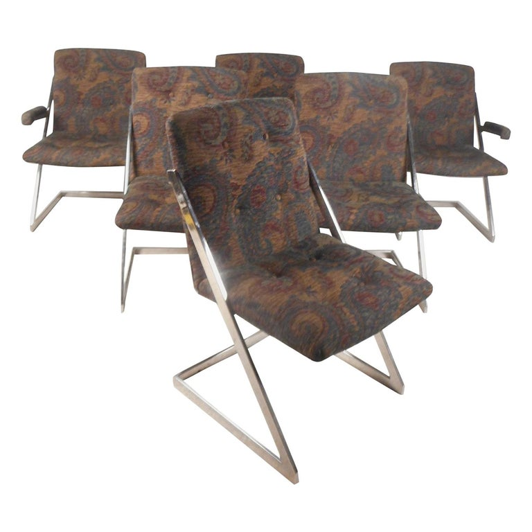 """Set of Six Milo Baughman Style Chrome """"Z"""" Frame Dining Chairs For Sale"""