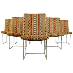 Set of Six Milo Baughman Thin Line Chrome Dining Chairs