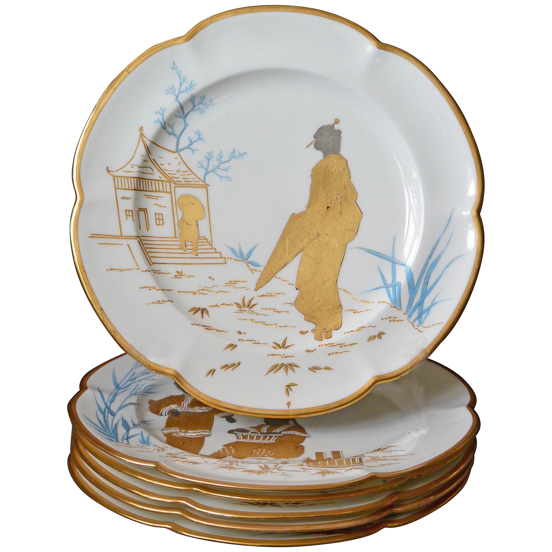 Set of Six Minton Japonisme Gilt and Silver Gilt Plates