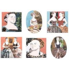 Set of Six Mixed-Media Tiles by Pauline Hughes