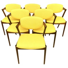 Set of Six Model 42 Chairs by Kai Kristiansen for Schou Andersen