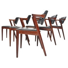 Set of Six Model 42 Kai Kristiansen Danish Modern Dining Chairs in Rosewood