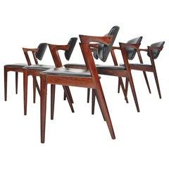 Set of Six Model 42 Kai Kristiansen Danish Modern Dining Chairs in Rosewood