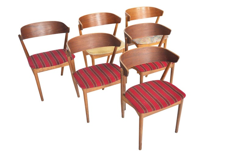 Mid-Century Modern Set of Six Model 7 Helge Sibast Teak and Oak Danish Modern Dining Chairs For Sale