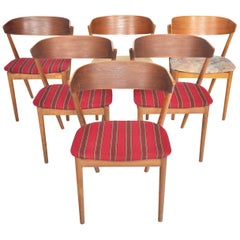 Set of Six Model 7 Helge Sibast Teak and Oak Danish Modern Dining Chairs