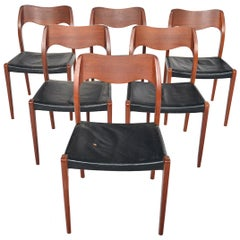 Set of Six Model 71 Dining Chairs by Niels Otto Moller