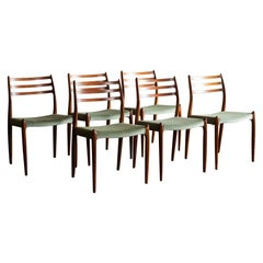 Set of Six Model 78 Rosewood Chairs by Niels O. Møller, Denmark, 1960s
