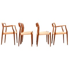 Set of Six Model No. 79 & No. 64 Dining Chairs in Teak by Niels Otto Møller