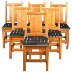 Set of Six Modern Danish Rustic Danish Chairs in Solid Knotty Pine
