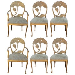 Set of Six Modern Italian Art Nouveau Floral Back Gold Dining Chairs