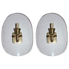 Set of Six Moderne Glass Shield Sconces, Sold per Pair