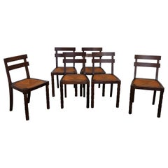 Set of Six Modernist Chairs, Oakwood and Rush Seat, France, 1940s
