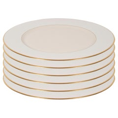 Set of Six Modernist Charger Plates in 24-Karat Gold and Bone China by Lenox
