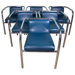 Set of Six Modernist tubular Steel chairs with Blue Leather seats