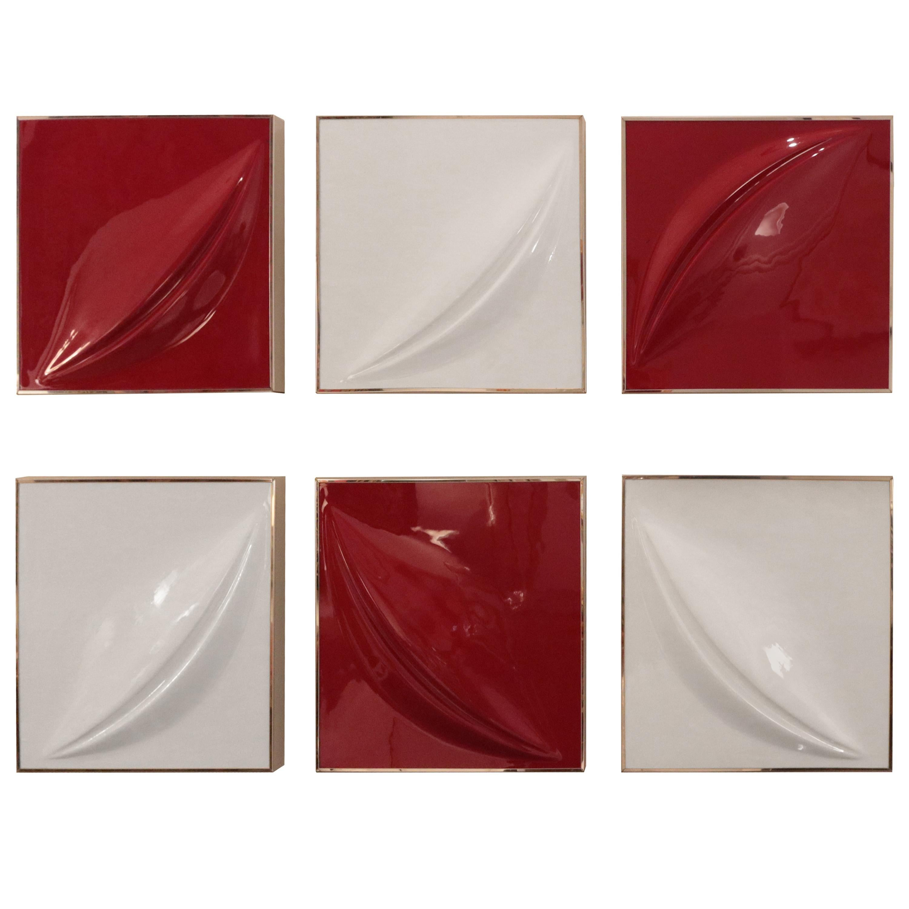 Set of Six Modernist Wall Reliefs