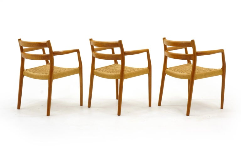 Set of Six Moller Dining Chairs, All Armchairs, Teak and Paper Cord Seats In Good Condition For Sale In Kansas City, MO