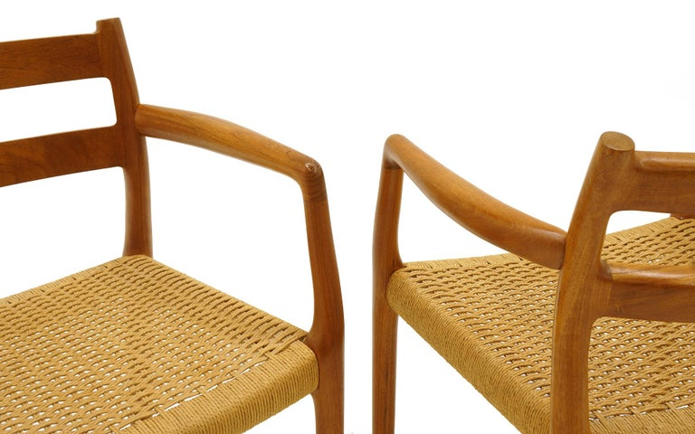 Mid-20th Century Set of Six Moller Dining Chairs, All Armchairs, Teak and Paper Cord Seats For Sale