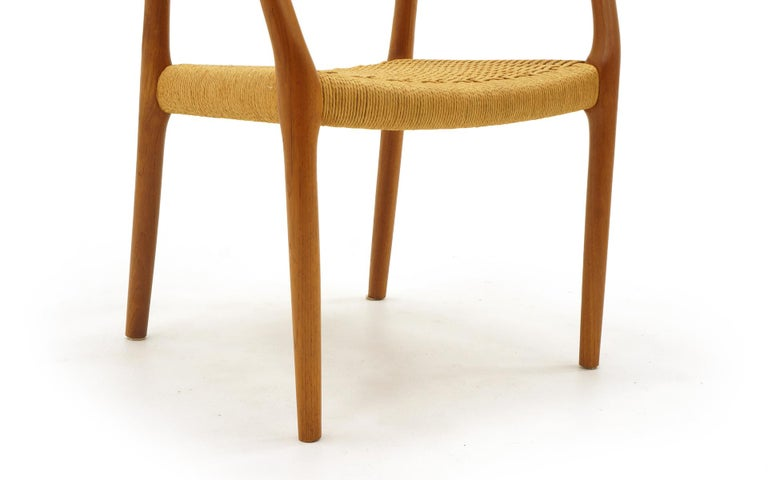 Set of Six Moller Dining Chairs, All Armchairs, Teak and Paper Cord Seats For Sale 1